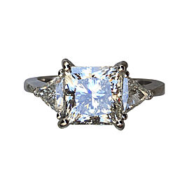Platinum 4.62 Ct Princess Cut Diamond Engagement Ring