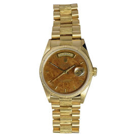 Rolex Day-Date President 18078 18K Gold Wood Dial Bark Mens Watch