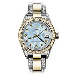 Rolex Oyster Perpetual Datejust 18K Yellow Gold / Stainless Steel With Baby Blue Dial 26mm Womens Watch