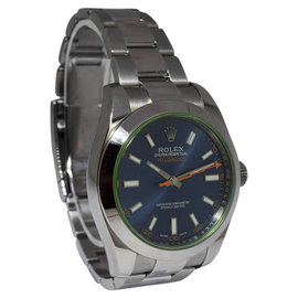 Rolex Milgauss 116400GV Stainless Steel Blue Dial Green Crystal 40mm Watch 2014
