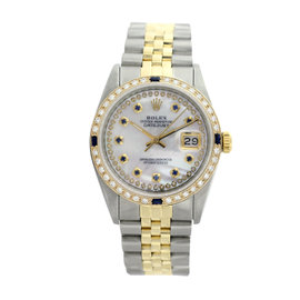 Rolex Datejust Two Tone 18K Yellow Gold & Stainless Steel 26mm Mother of Pearl Womens Watch