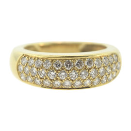 Van Cleef & Arpels 18k Yellow Gold 1.50 Ct Diamond Dome Band Size 6.75 Ring