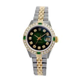 Rolex Datejust 6917 18K Yellow Gold & Stainless Steel Green Vignette Dial Emerald & Diamond 26mm Womens Watch