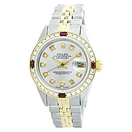 Rolex Datejust 6917 Two Tone Silver Diamond Ruby Womens 26mm Watch