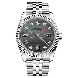 Rolex Datejust Black Tahitian Mother Of Pearl w 8+2 Diamond Face Unisex 36mm Watch