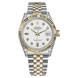 Rolex Datejust 2 Two Tone White Color Dial with 8 + 2 Diamond Accent Unisex 36mm Watch