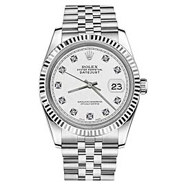 Rolex Datejust White Face 18K Gold/Stainless Steel Jubilee with Diamond Numbers Unisex 36mm Watch