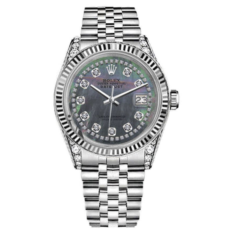 """Image of """"Rolex Datejust Black Mother Of Pearl String Diamond Accent Dial 26mm"""""""