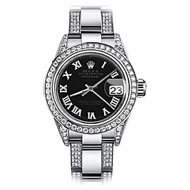 Rolex Datejust Oyster Perpetual Stainless Steel Diamonds Black Roman Womens 31mm Watch