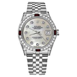 Rolex Datejust Stainless Steel With White Mother Of Pearl Dial And Ruby & Diamond Bezel 31mm Womens Watch