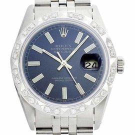 Rolex Datejust 16014 Oyster Steel 18K Gold Pyramid Blue Diamond Dial Mens 36mm Watch