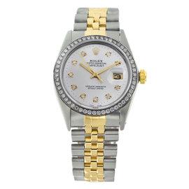 Rolex Datejust 16013 Two Tone Jubilee White Diamonds Bezel & Dial Mens 36mm Watch