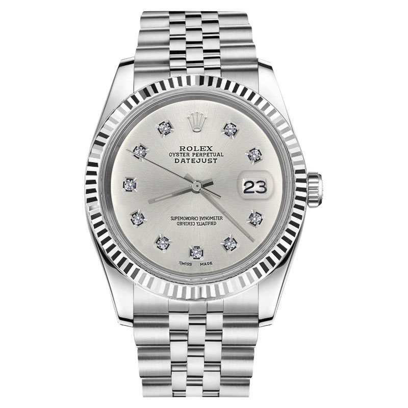 "Image of ""Rolex Datejust Stainless Steel With Silver Color Dial With 10 Round"""