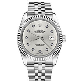 Rolex Datejust Stainless Steel With Silver Color Dial With 10 Round Diamond 26mm Womens Watch