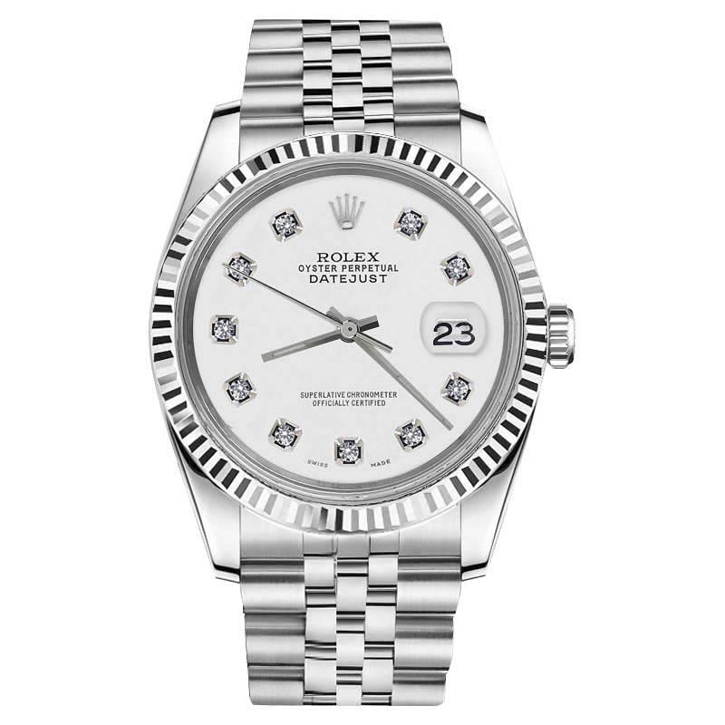 "Image of ""Rolex Datejust Stainless Steel With White Dial And Diamond Accent 36mm"""