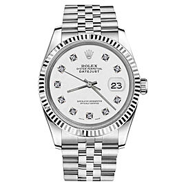 Rolex Datejust Stainless Steel With White Dial And Diamond Accent 36mm Unisex Watch