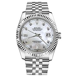 Rolex Datejust Stainless Steel With White Mother Of Pearl 8+2 Diamond Dial 36mm Unisex Watch
