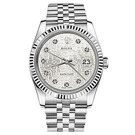 Rolex Datejust Stainless Steel With Diamonds Silver Jubilee Metal Plate 36mm Unisex Watch