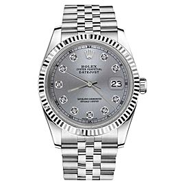 Rolex Datejust Stainless Steel With Grey Color Dial And Diamond Accent 36mm Unisex Watch