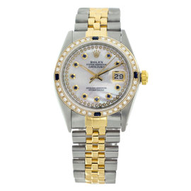 Rolex Datejust 16013 Two Tone Mother Of Pearl String Dial Diamonds & Sapphire Mens Watch