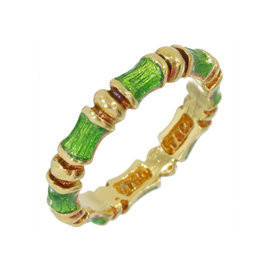 Tiffany & Co. 18K Yellow Gold & Enamel Bamboo Ring Size 5