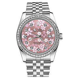 Rolex Datejust Glossy Pink Flower Dial with Diamond Accent Womens 31mm Watch