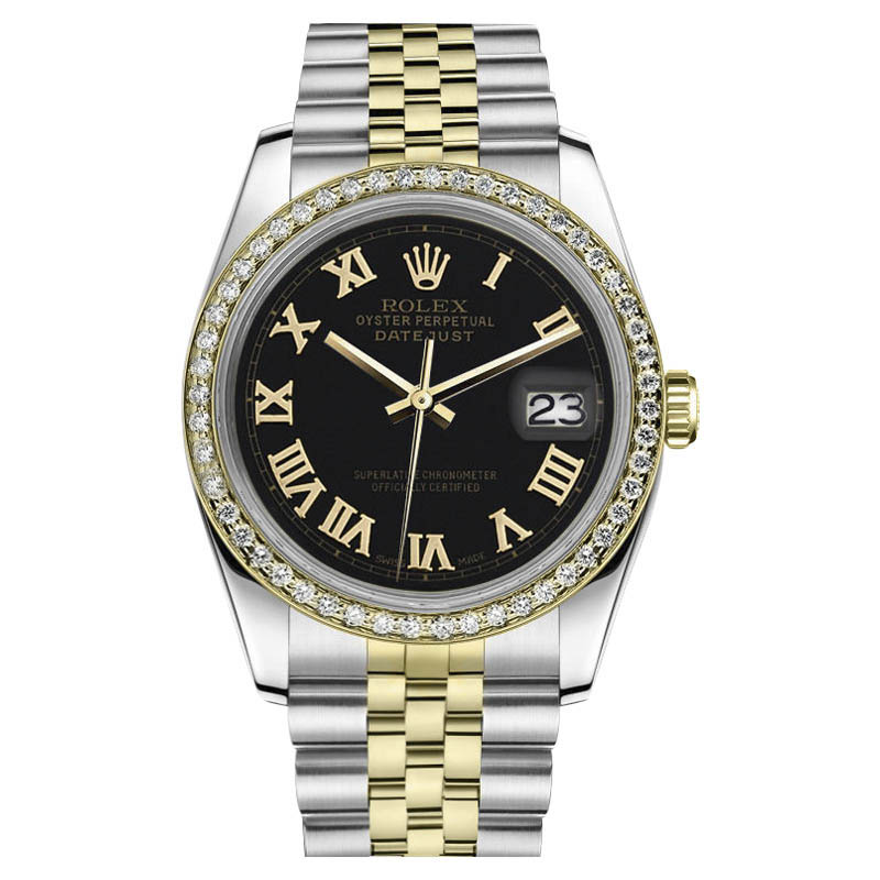 "Image of ""Rolex Datejust 18K Gold & Stainless Steel Black Roman Numeral Dial"""