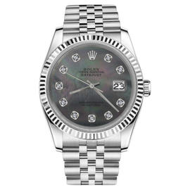 Rolex Datejust Black Mother Of Pearl Dial with Diamond Womens 31mm Watch