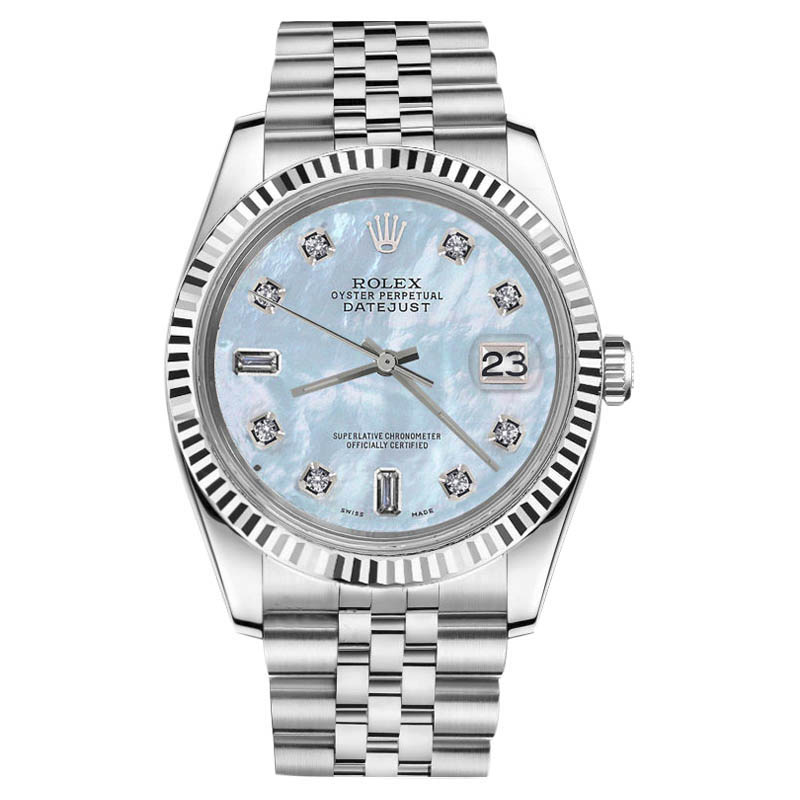"Image of ""Rolex Datejust Stainless Steel Baby Blue Mother Of Pearl 8+2 Diamond"""