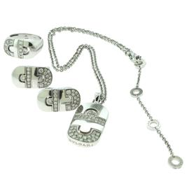 Bulgari Bulgari Parentesi Diamond 18k White Gold Earrings Necklace Ring Size 6.25 Set