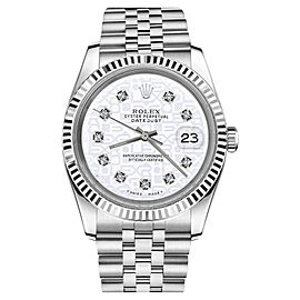 Rolex Logo Datejust 18K White Gold & Stainless Steel Jubilee Diamond White Face 26mm Womens Watch