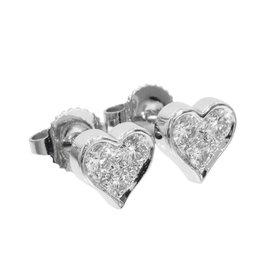 Tiffany & Co. 950 Platinum Sentimental Heart Diamonds Earrings