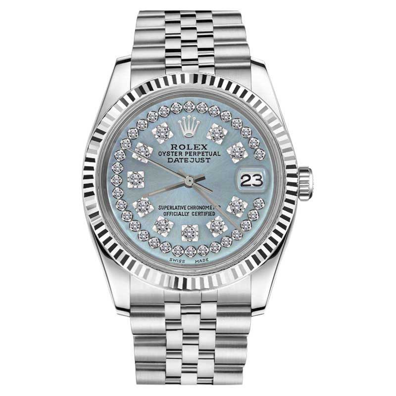 """Image of """"Rolex Datejust Ice Blue String Diamond 18K White Gold & Stainless"""""""