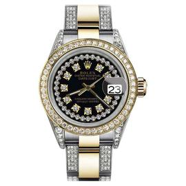 Rolex Oyster Perpetual Datejust Black String Diamonds Dial Womens 31mm Watch