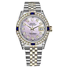Rolex Datejust Stainless Steel/ 18K Gold With Pink Dial Sapphire & Diamond Bezel 26mm Womens Watch