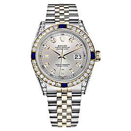 Rolex Datejust 18K Yellow Gold & Stainless Steel With Silver Blue Sapphire Diamond Bezel 26mm Womens Watch