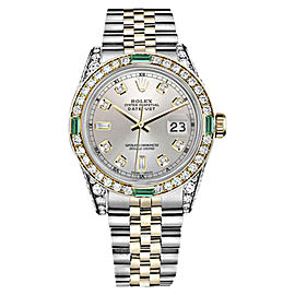 Rolex Datejust 18K Yellow Gold & Stainless Steel Silver Diamond & Emerald Dial 26mm Womens Watch