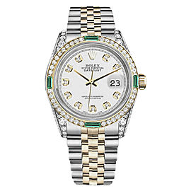 Rolex Datejust Stainless Steel & 18K Yellow Gold White Emerald & Diamond Dial 26mm Womens Watch