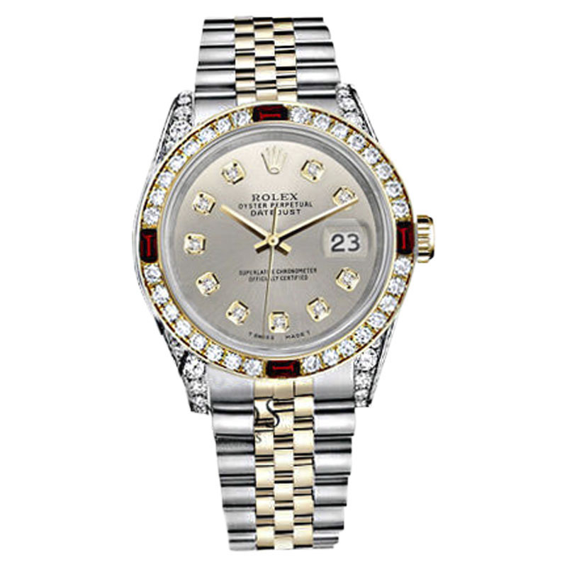 """Image of """"Rolex Datejust Stainless Steel & 18K Yellow Gold Ruby & Diamond Dial"""""""