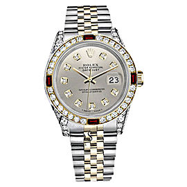 Rolex Datejust Stainless Steel & 18K Yellow Gold Ruby & Diamond Dial 26mm Womens Watch