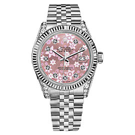 Rolex Datejust Stainless Steel Glossy Pink Flower Dial Diamond Accent 36mm Unisex Watch