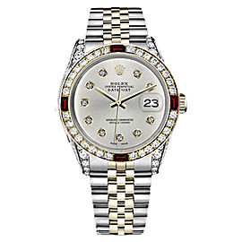 Rolex Datejust 2Tone 18K Gold/ Stainless Steel Silver Ruby & Diamond Jubilee Womens 26mm Watch
