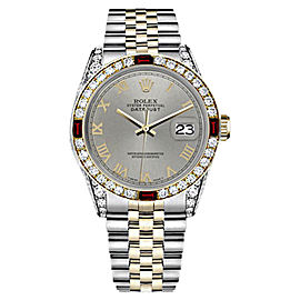 Rolex Datejust 2Tone Slate Grey Roman Numeral Ruby Diamond Jubilee Womens 26mm Watch