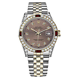 Rolex Datejust 2Tone 18K & Stainless Steel Salmon Ruby & Diamond Jubilee Womens 26mm Watch