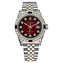 Rolex Datejust 2Tone 18K Gold/Stainless Steel Sapphire Diamond Red Vignette Womens 26mm Watch