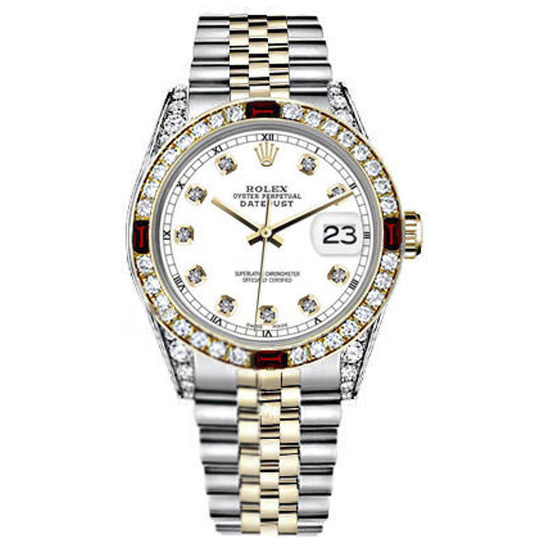 "Image of ""Rolex Datejust 2Tone 18K/Stainless Steel White Ruby & Diamond Bezel"""