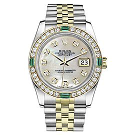 Rolex Datejust Steel/18K Gold Mother of Pearl Emerald Diamond Jubilee Womens 26mm Watch