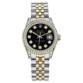 Rolex Datejust 2Tone Stainless Steel/18KGold Black Diamond Jubilee Unisex 26mm Watch