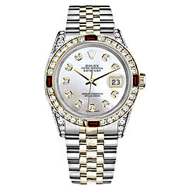 Rolex Datejust Stainless Steel & 18K Gold White Mother of Pearl Ruby Diamond Bezel Womens 26mm Watch
