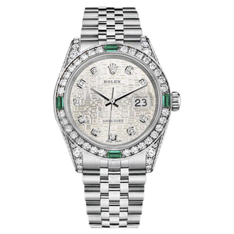 "Image of ""Rolex Datejust Stainless Steel Emerald & Diamond Silver Logo Jubilee"""